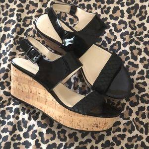 Calvin Klein Platform Black patent sandals 9.5